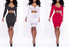 Womens Bodycon Bandage Crop Top Skirt Two Piece Set Party Sexy Summer sunDress