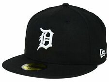 Detroit Tigers Black White Hats MLB Authentic New Era 5950 Fitted Cap