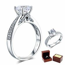 925 Sterling Silver Wedding Engagement Ring 2 Ct Brilliant Lab Created Diamond