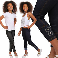 Kinder Leggins Hose Jeans Look Leggings Jeggings Teenager Treggings Mädchen Neu