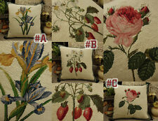 """14"""" Hand Crafted Vintage Needlepoint Pillow Rose Pansy Strawberry"""