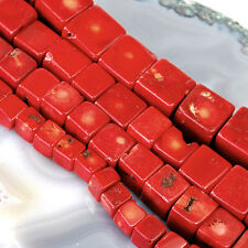 "Red Natural Sea Coral Cube Beads 15"" , pick your size."