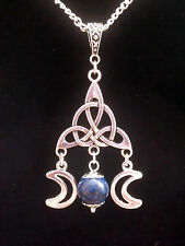 TRIQUETRA TRIPLE MOON GODDESS PENDANT NECKLACE WICCAN PAGAN + CHOICE OF GEMSTONE