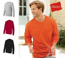 Hanes Men's Blank Tagless Long Sleeve Cotton T-Shirt with a Pocket 5596 S-3XL