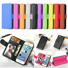 For iPhone 4S 5S 5C 6 4.7/6 Plus Flat Leather Flip Wallet Case Card Photo Cover
