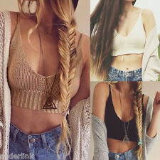Summer Womens Lady Crochet Knit Crop Top Halter Bra Bralette Deep V-neck Blouse