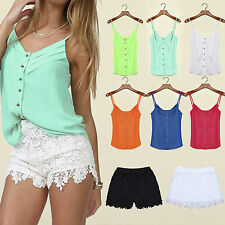 Womens Chiffon Blouse Tops Spaghetti Strap T Shirts Sleeveless Vest Shorts Pants