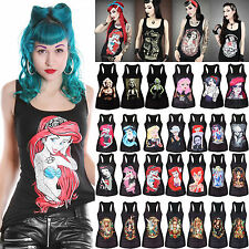 Women Casual Camisole Gothic Graphiti Printed Rock Punk Vest Tank Tops T-Shirts