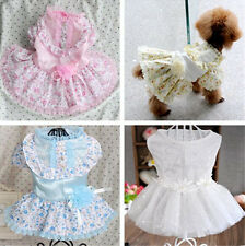 New good small pet dog clothes apparel flower lace skirt princess wedding dress