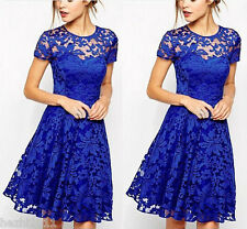 New Ladies Vintage Lace Short Sleeve Evening Formal Cocktail Mini Party Dress UK