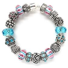 European charm bracelet pink blue Murano glass silver color charms