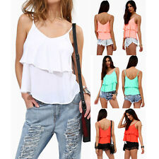 Sexy Women Summer Casual Sleeveless Shirt Chiffon Loose Vest Tank Top Blouse
