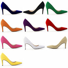 Candy Colors Sexy Women Ladies Mid High Heel Faux Suede Shallow Shoes AU 3.5-8
