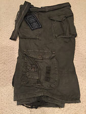 NWT Men's Marx & Dutch Olive Green Solid Belted Cargo Shorts ALL SIZES