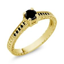 0.34 Ct Round Black AAA Diamond 14K Yellow Gold Engagement Ring
