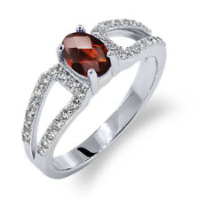1.28 Ct Oval Checkerboard Red Garnet 18K White Gold Ring