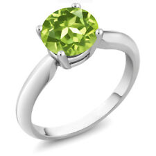 2.00 Ct Round Green Peridot 925 Sterling Silver Ring