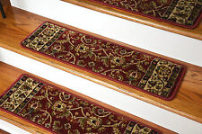 "Dean Premium Carpet Stair Treads - Classic Keshan Claret Red 31""W"
