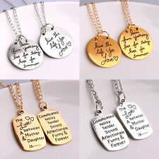 Charm Pendant Necklace Inspiration Quotes Words Mother Daughter Love Reversible