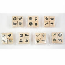 """Assorted 4 Packs of Themed 1"""" x 1"""" Wood Mounted Rubber Stamps - Your Choice"""