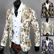 Men's Fashion One Button Floral Blazer Casual Slim Fit Long Sleeve Coat Jacket