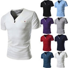 New Fashion Mens Casual Slim Fit V-neck Short Sleeve Cotton T-shirt Tops Tee