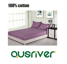 New Single/Double/Queen/King Bed Sheet Set Fitted Pillowcase 100% Cotton Purple