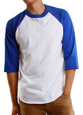 Mens 3/4 Raglan Sleeve Baseball T-Shirt, Athletic Casual Tees - White/Navy