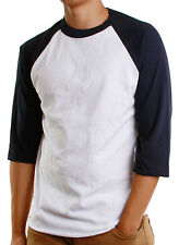 Mens 3/4 Raglan Sleeve Baseball T-Shirt, Athletic Casual Tees - White/Royal Blue