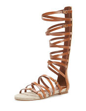 STRADIVARIUS -ZARA GROUP- BROWN GLADIATOR ROMAN TALL SANDALS WITH STRAPS AND ZIP