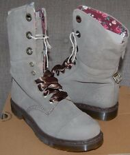 NIB Dr Martens Women's Aimilie (Triumph) Taupe Suede & Red Floral 9-Eye Boots