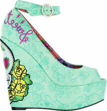 IRON FIST SWEET TOOTH CRYSTAL FLOWERS PEEPTOE FUN PLATFORM WEDGE SHOES SIZE 7-10