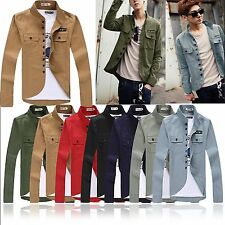 New Style Men's Stand-up Collar Casual Jacket Thin Military Design Coats