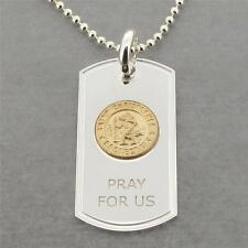 Sterling Silver St Christopher Dog Tag With Gold Plated Medal & Engraving Option