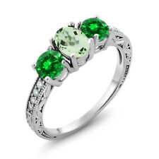 2.55 Ct Oval Green Amethyst Green Simulated Emerald 925 Sterling Silver Ring
