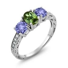 1.74 Ct Oval Green Tourmaline Blue Tanzanite 925 Sterling Silver Ring