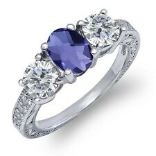 1.77 Ct Oval Checkerboard Blue Iolite I/J Diamond 925 Sterling Silver Ring