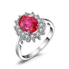 Crown 3ct Pigeon Blood Red Ruby Ring Solid 925 Sterling Silver Size 6 7 8 9
