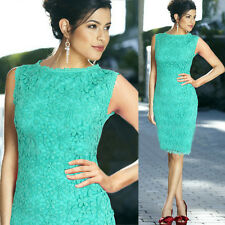Women Summer Lace Sleeveless Office Lady Bodycon Evening Party Dress Size 8-14