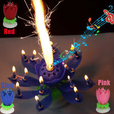 Amazing Romantic Musical Lotus Flower Rotating Happy Birthday Candle Lights
