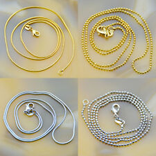5Pcs Silver Plated Thin Snake or Ball Necklace Chains Lobster Clasp 20""