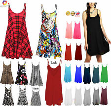 Womens Plain CAMI SWING DRESS Sleeveless Top Lot Strappy Ladies vest Size Flared