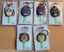 Key Cover Sugar Skull Owl Day of the Dead Funky PVC Key Cover Key Chain BNIP