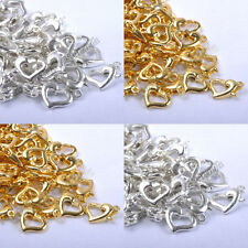 Wholesale 20Pcs Gold & Silver Plated Metal Heart Lobster Clasps Hooks 13X9mm