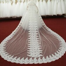 Noble Cathedral Length Bridal Wedding Veil Lace Applique Edge White/Ivory + Comb