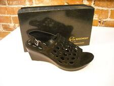B Makowsky Solly Black Leather Cutwork Wedge Sandals