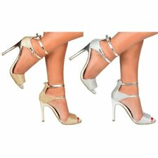 Women's Glitter Party Prom Stiletto High Heels Shoes Ankle Strap Gold Silver New