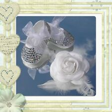 Baby bling pram shoes with bow Party/Christening/Wedding crystal