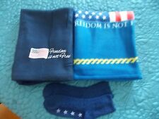 2 FREEDOM IS NOT FREE LAP BLANKETS WITH 1 PAIR OF SOCKS NEW