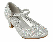 GIRLS SILVER GLITTER DIAMANTE BRIDESMAID PARTY WEDDING SANDALS SHOES UK SIZE 9-2